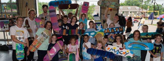 campers with skateboards